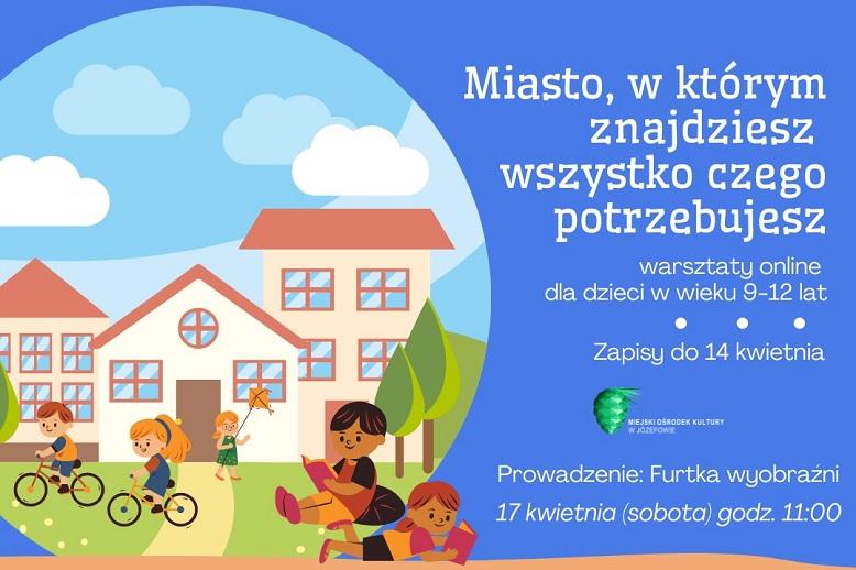 Rysunek miasta i dzieci. Niebieskie tło.