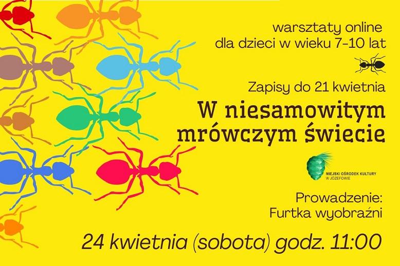 Rysunkowe kolorowe mrówki na żółtym tle.