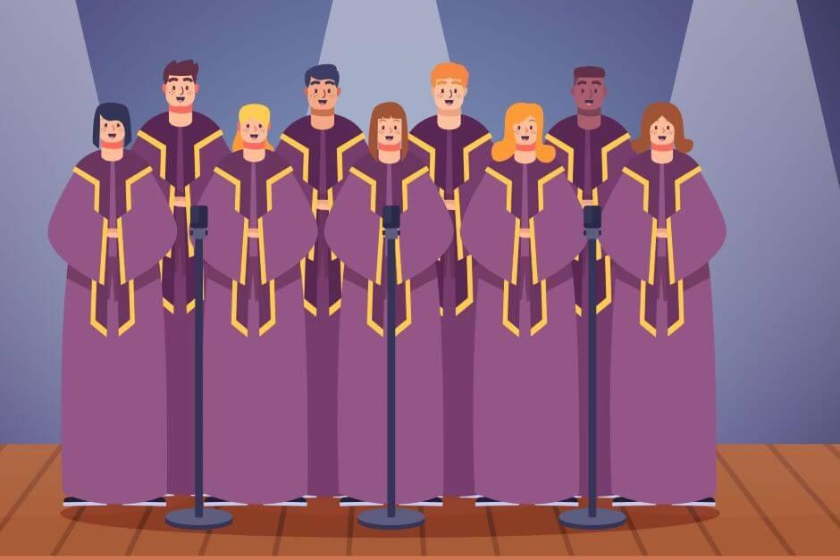 Rysunkowy chór kobiet i mężczyzn w fioletowych tunikach.