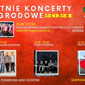 Zdjęcia czterech grup muzycznych na czerwonym tle.