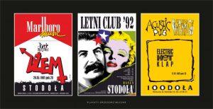 Trzy pionowe grafiki na czarnym tle: od lewej biało-czerwona, w środku Stalin i Marylin Monroe w objęciach, trzacia żółta.