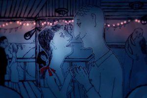 Nieibeska tonacja: animowana para patrzy na siebie w tańcu.
