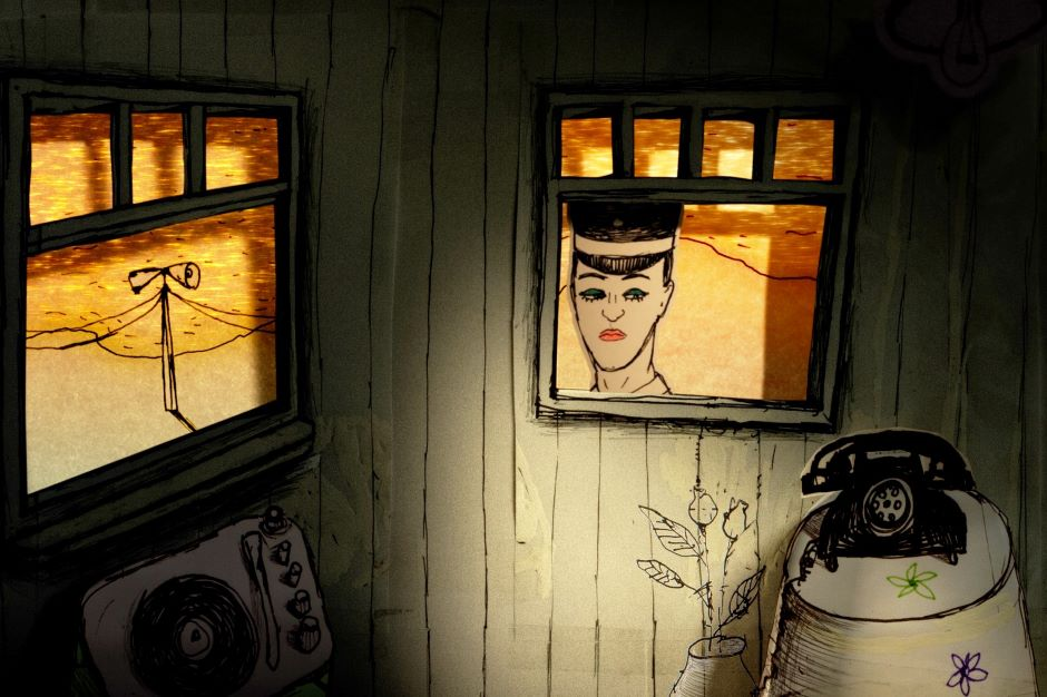 Animacja: pokój, do którego zagląda z zewnątrz człowiek w czapce.