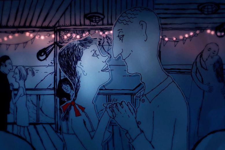 Kolaż w niebieskiej tonacji. Narysowana para patrzy sobie w oczy.