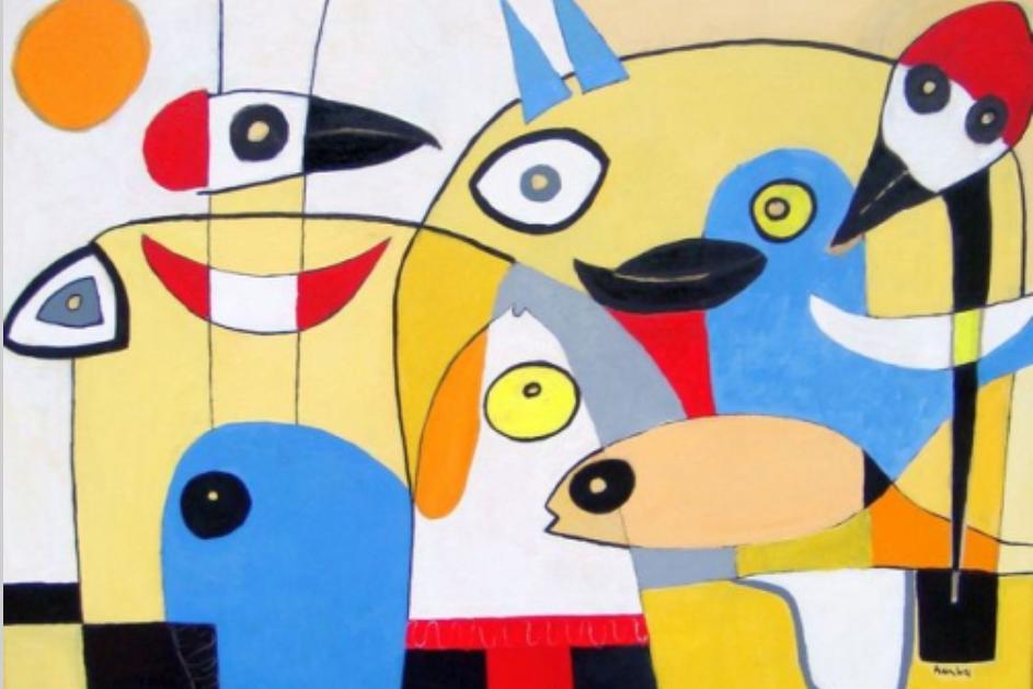 Kolorowy obraz z wymyślonymi zwierzętami.