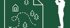 Zielono-biały rusunek. Mężczyzna patrzy przez lornetkę w strony mapy.