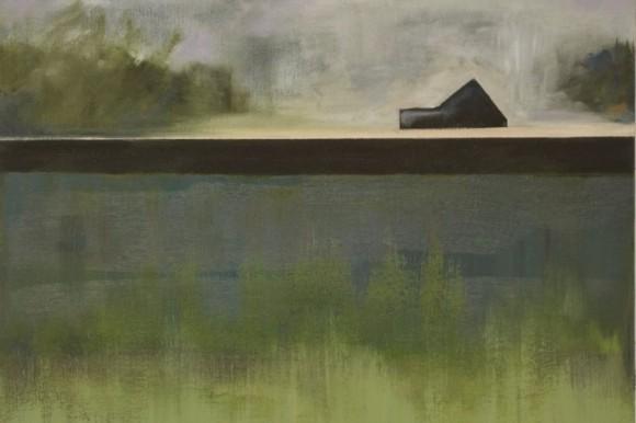 Obraz. Spokojny pejzaż łąk i domem w dali.