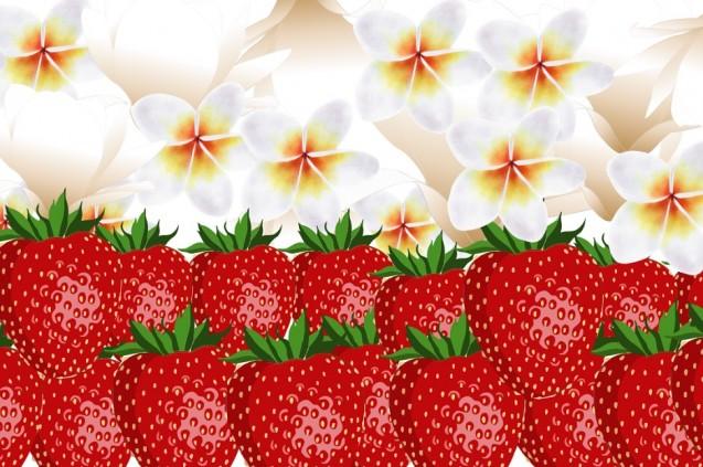 Białe kwiaty i czerwone truskawki układającę się w polską flagę.